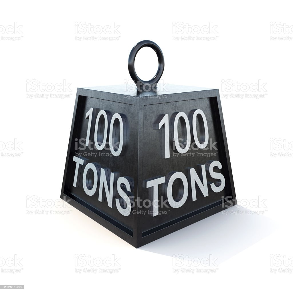 Hundred 100 tons weight isolated on white. 3d rendering stock photo