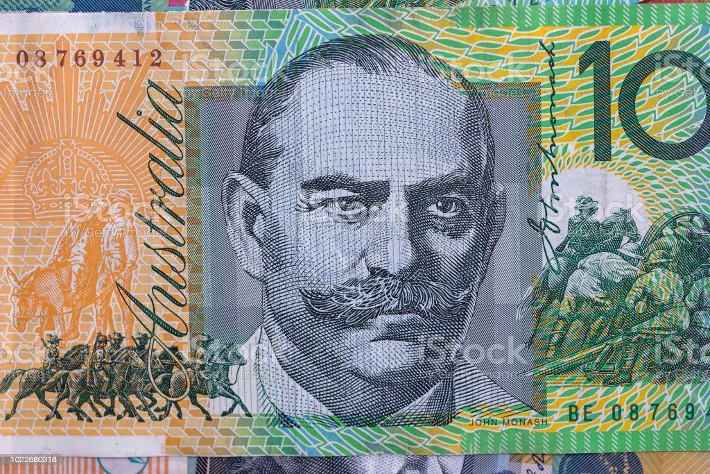 Hundred australian dollar banknote macro photo . stock photo