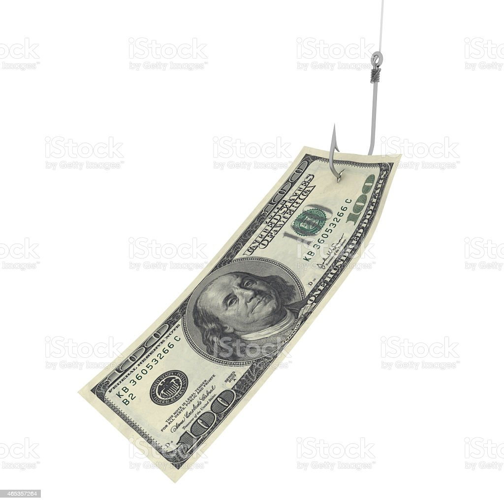 Hundred Dollar Bill on Fishing Hook stock photo