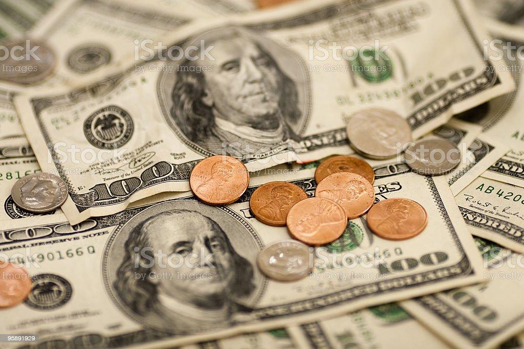 Hundred Dollar Bills and Change stock photo