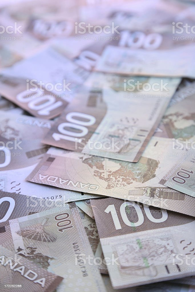 Hundred dollar bills – Canadian royalty-free stock photo