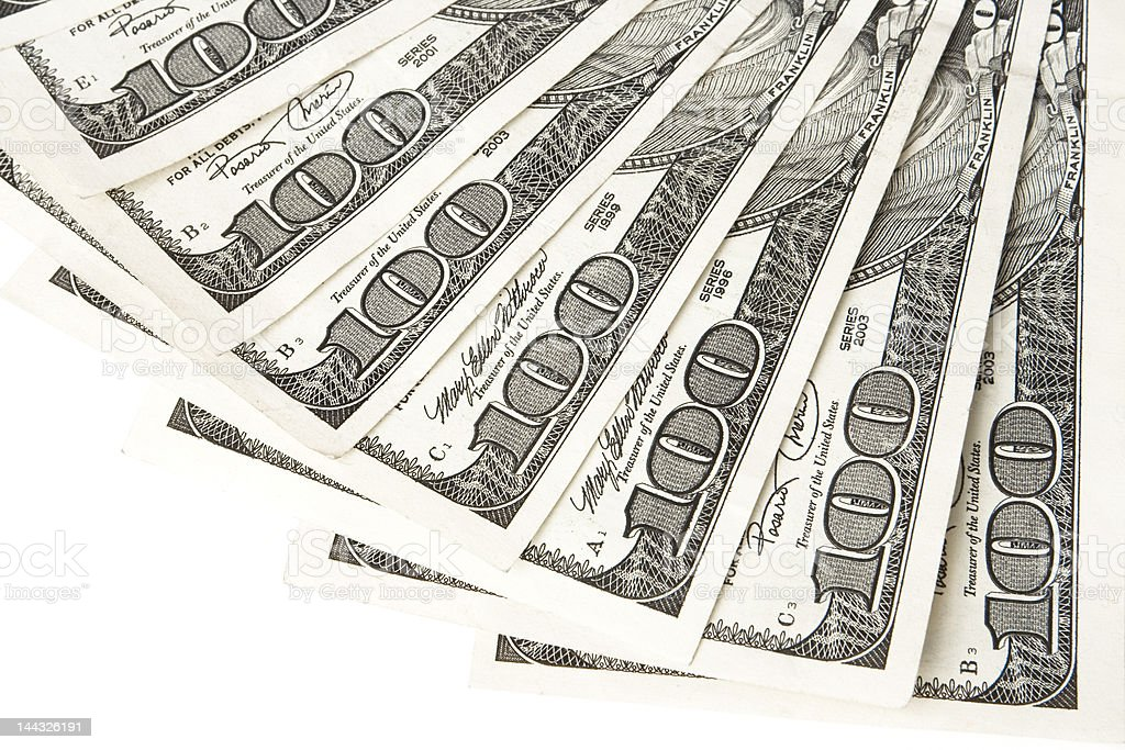 Hundred dollar bills royalty-free stock photo