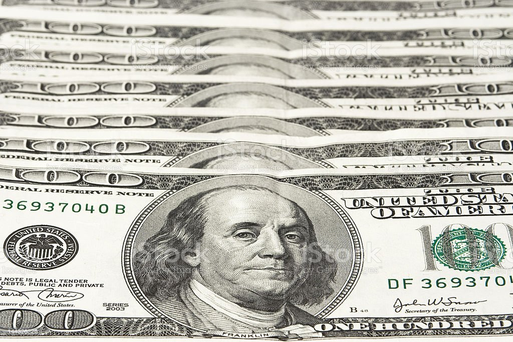 Hundred dollar bills royalty-free stock photo