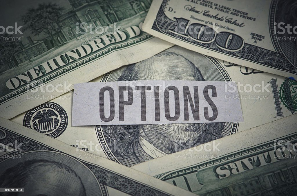 Hundred Dollar Bills with Options Word royalty-free stock photo