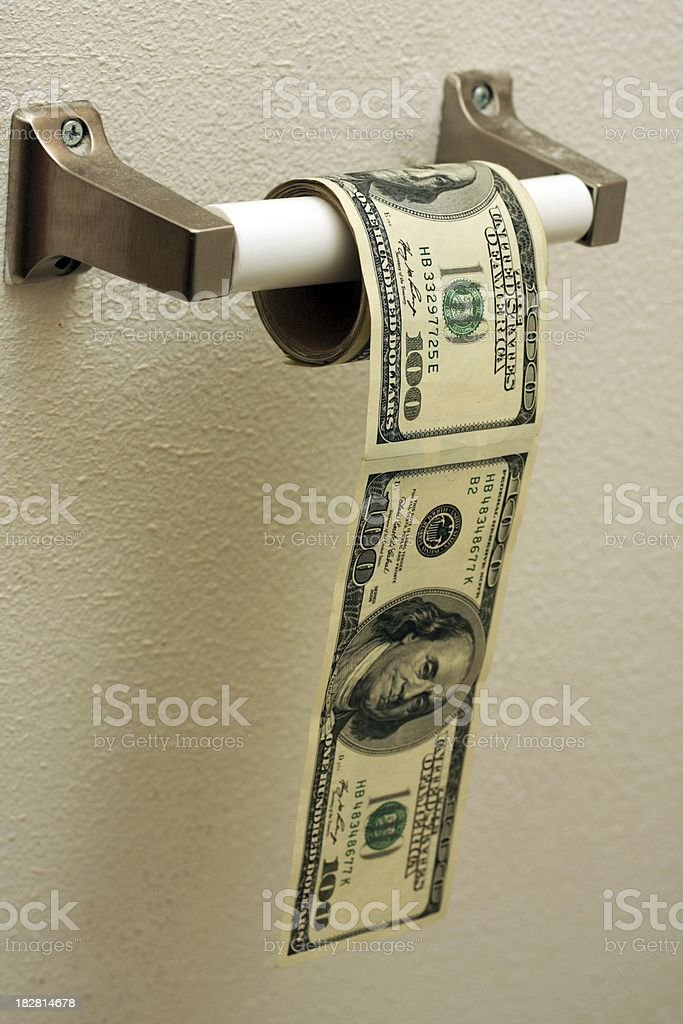 Hundred Dollar Toilet Paper Roll stock photo