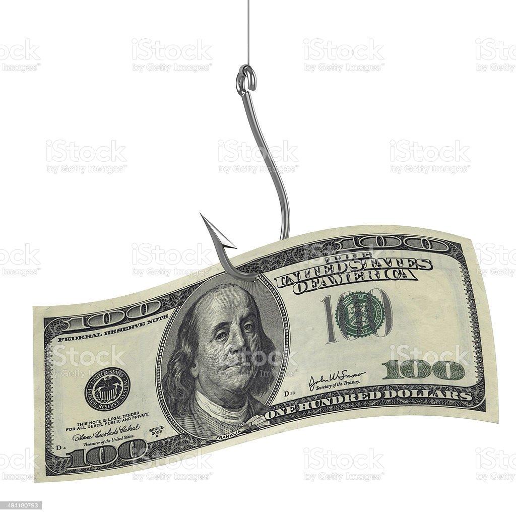 hundred dollars as bait on fishing hook stock photo