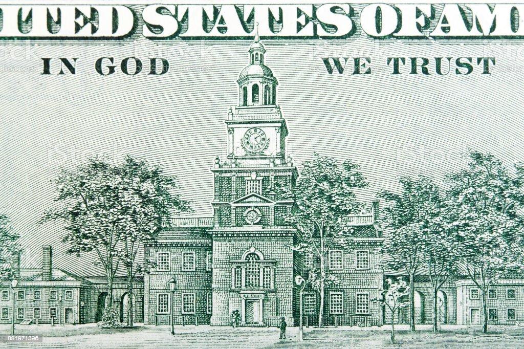USA hundred dollars bill, Independence Hall close-up stock photo