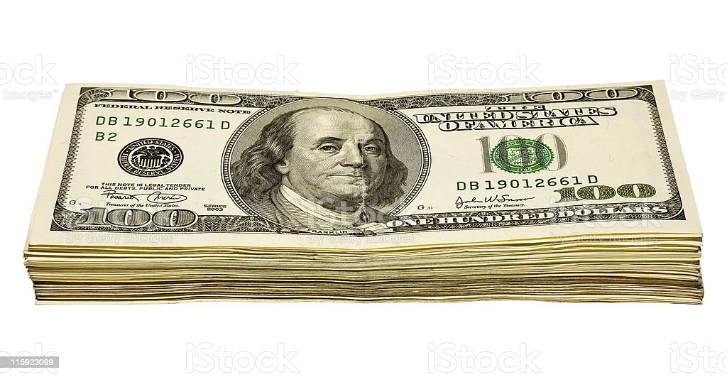 hundred dollars heap royalty-free stock photo