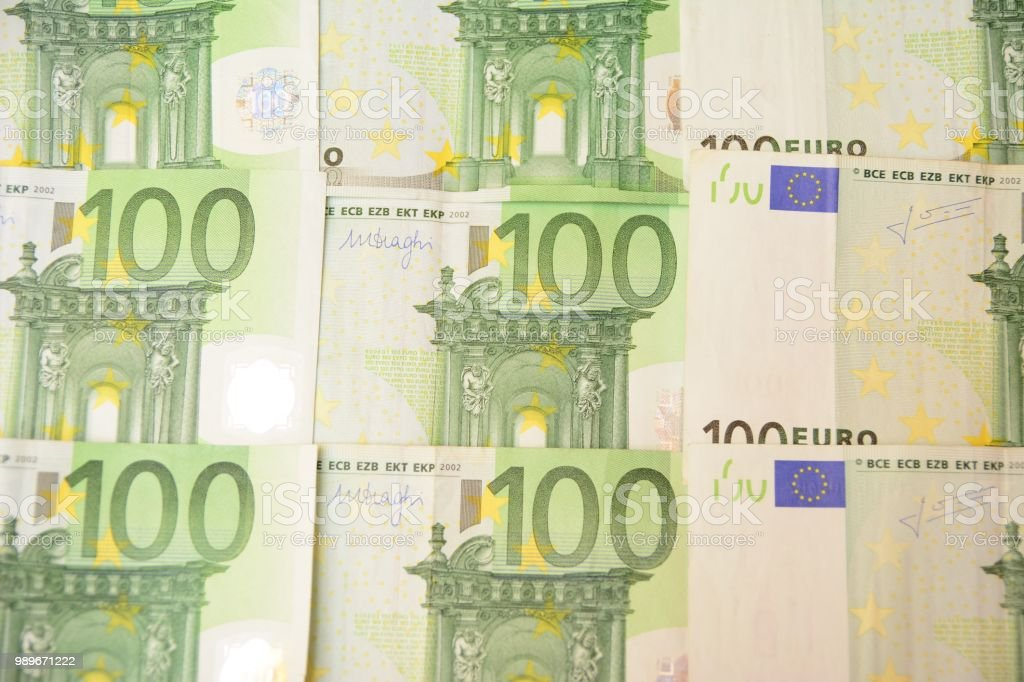 Hundred euro banknotes in order stock photo