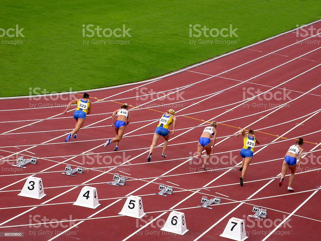 Hundred meter race - Royalty-free Adult Stock Photo