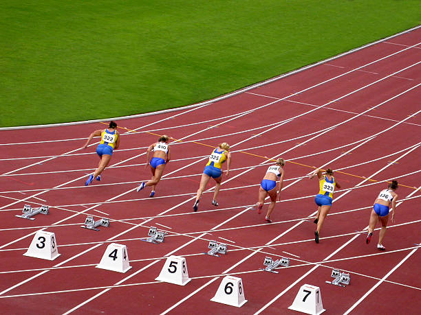 Hundred meter race stock photo