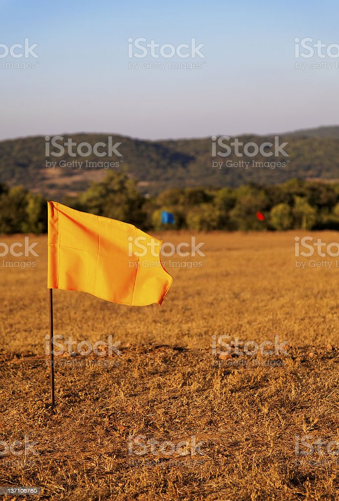 hundred metre marker flags royalty-free stock photo