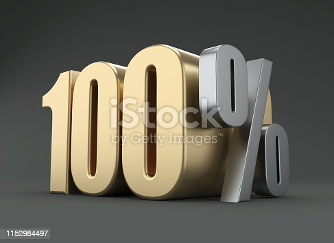 istock Hundred Percent - 3D Rendering Image 1152984497