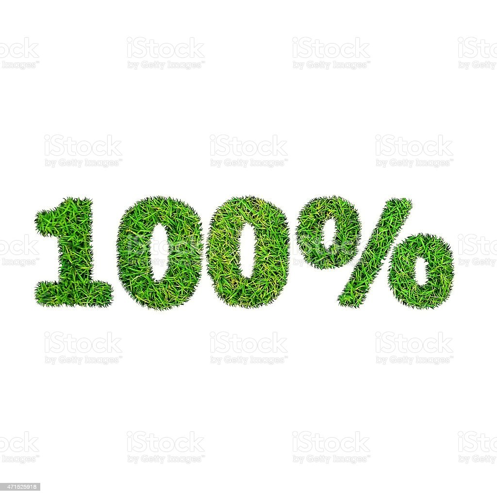 Hundred percent discount icon. Green grass numerals isolated on white stock photo