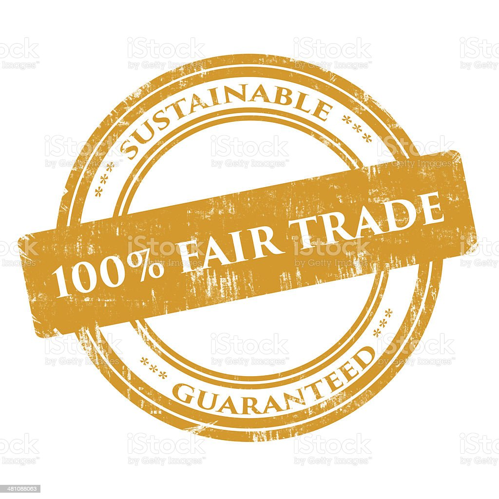 Hundred (100) Percent Fair Trade - Rubber Stamp, Grunge, Circle stock photo