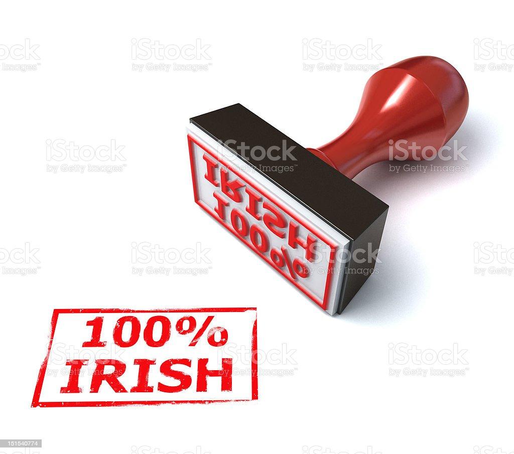 hundred percent Irish stamp stock photo