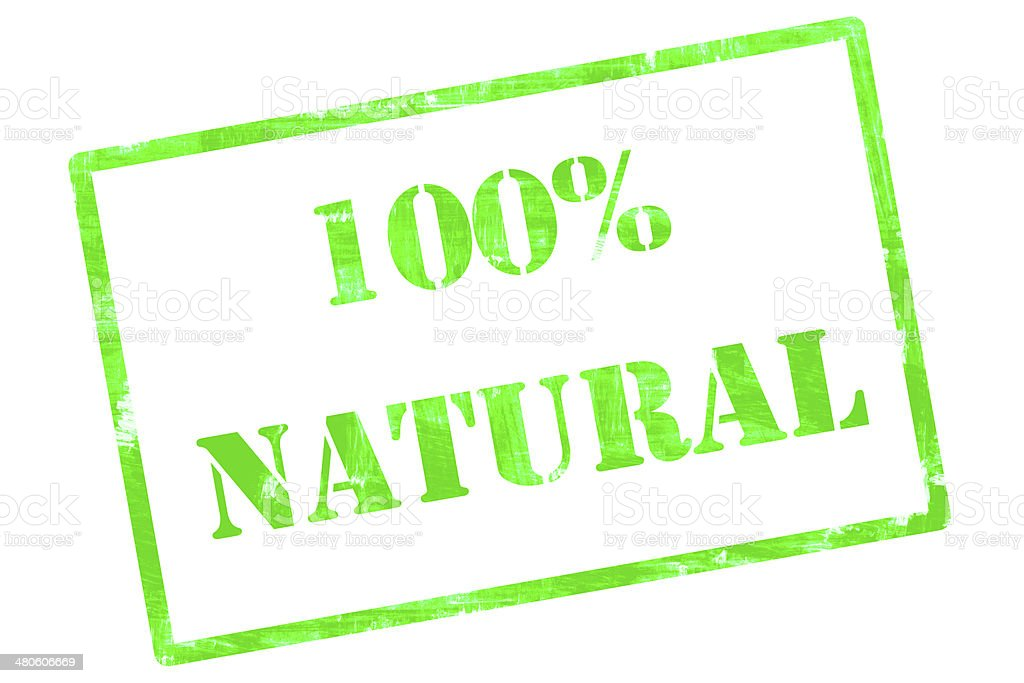 Hundred (100) Percent Natural - Grunge Rubber Stamp stock photo
