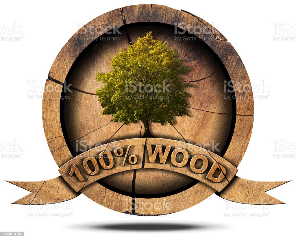 Hundred Percent Wood - Symbol with Tree stock photo