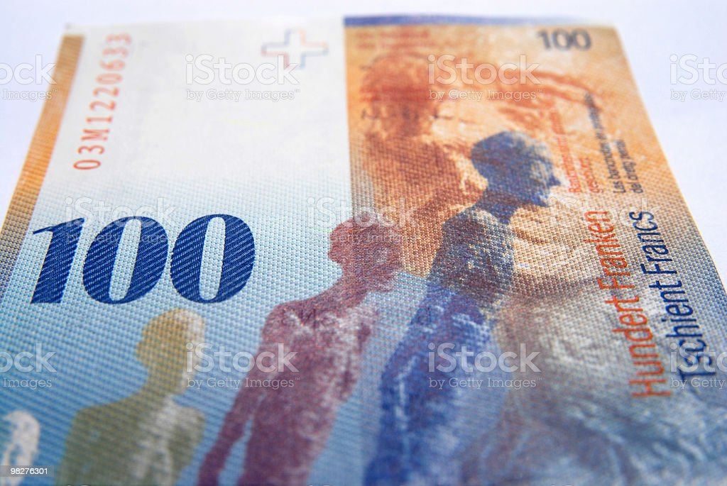 Hundred swiss francs currency royalty-free stock photo