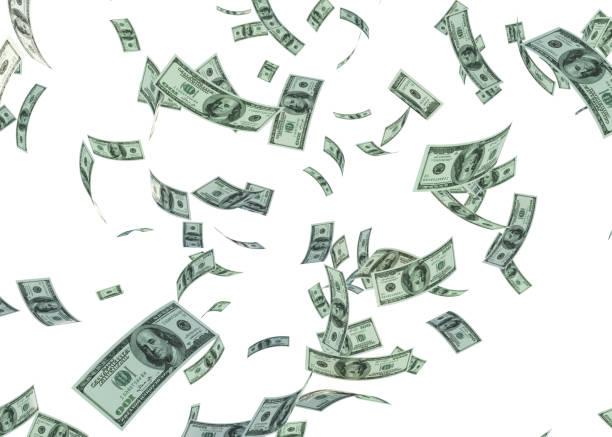 honderd dollar van de v.s. zijn vallen op witte achtergrond - clipping path stockfoto's en -beelden