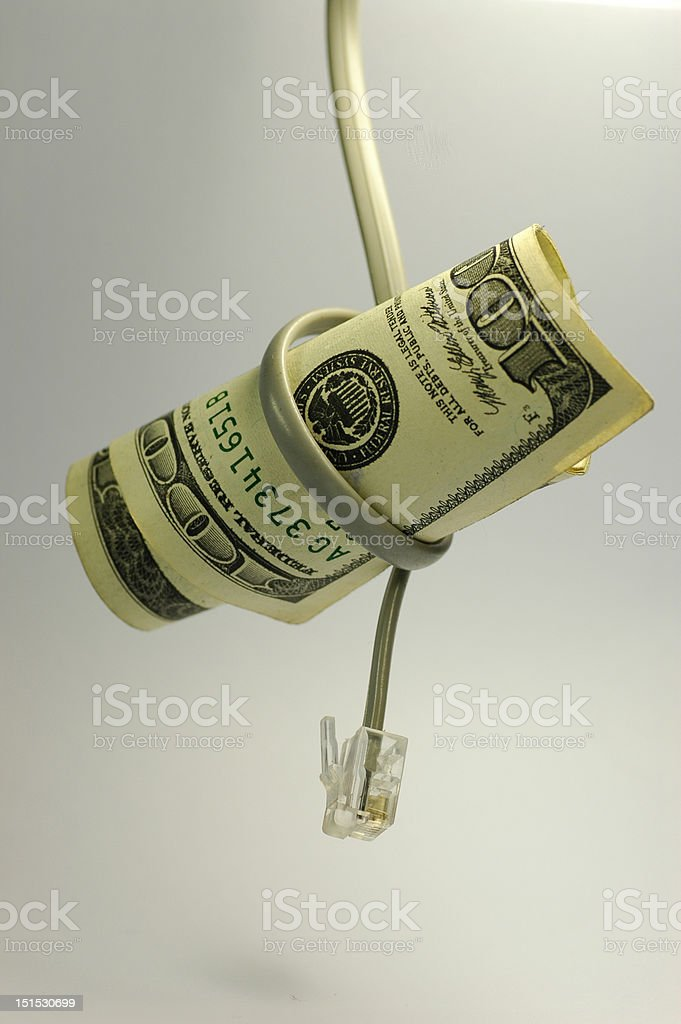 Hundred US dollar with cable - Royalty-free American One Hundred Dollar Bill Stock Photo