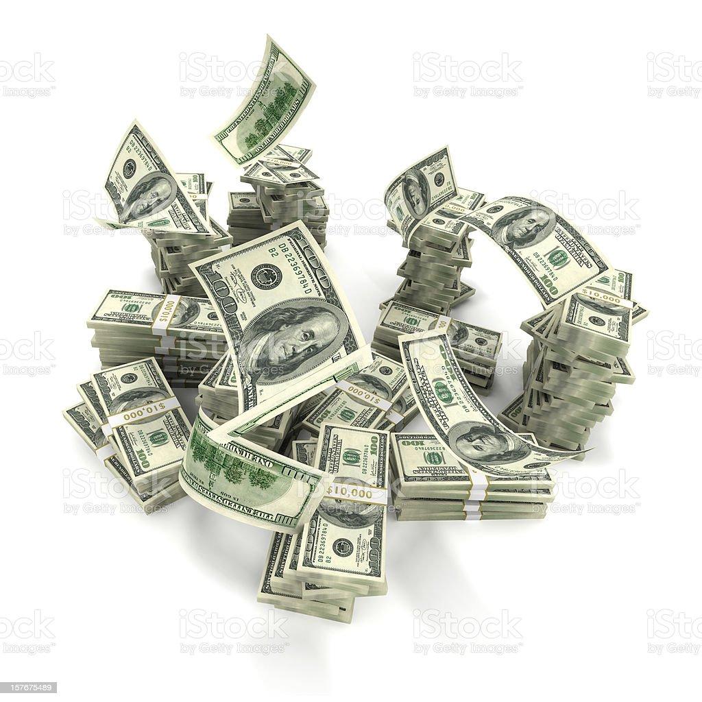 Hundreds Falling onto Money Stack stock photo