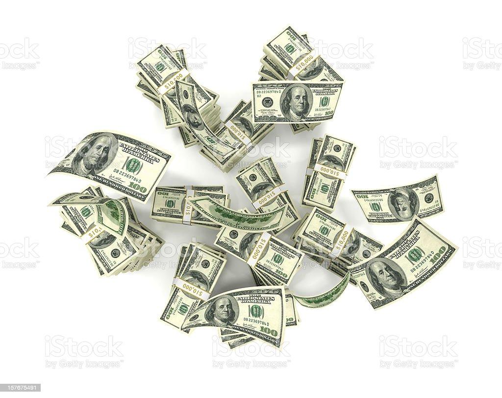 Hundreds Falling onto Money Stack royalty-free stock photo