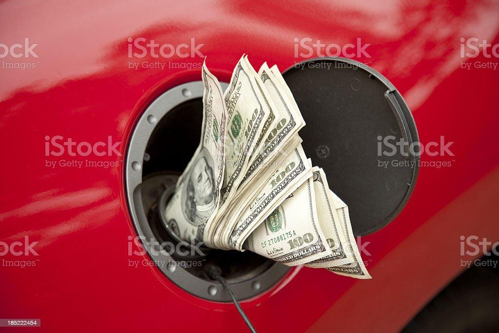 Hundreds go into the gas tank stock photo