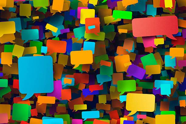 Hunderte leere Rede Blasen Mehrfarbige – Foto