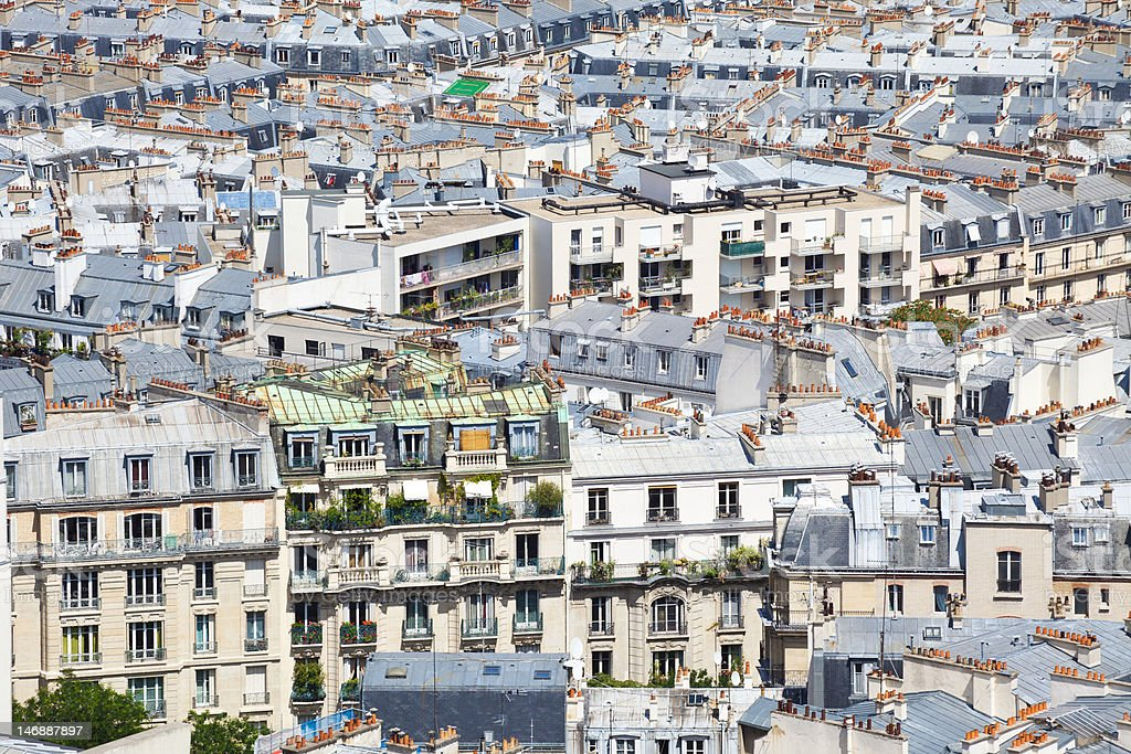 Hundreds of Chimneys on Paris roofs royalty-free stock photo