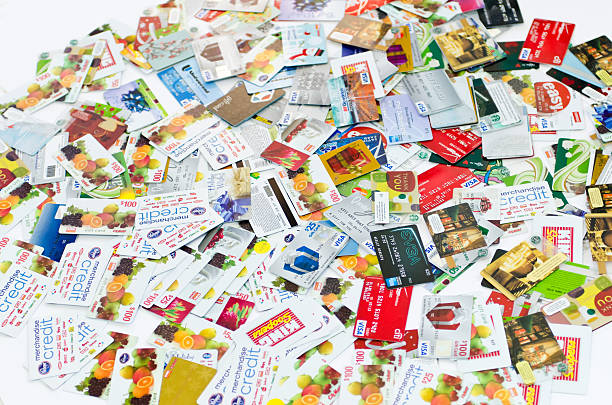 hundreds of credit cards stock photo