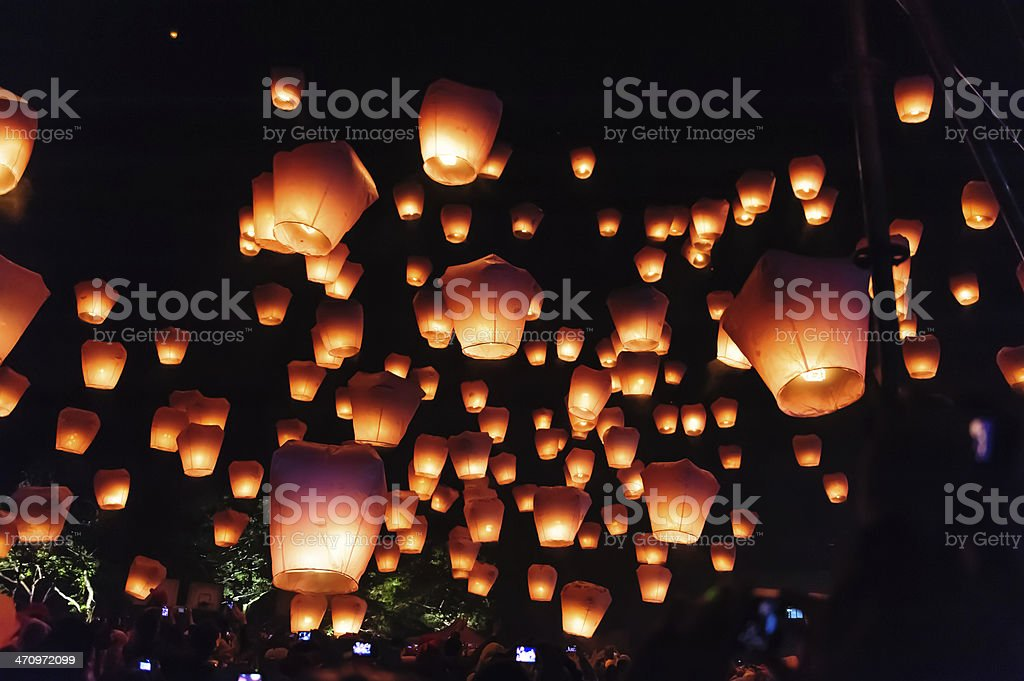 Hundreds of sky lanterns during a lantern festival stock photo