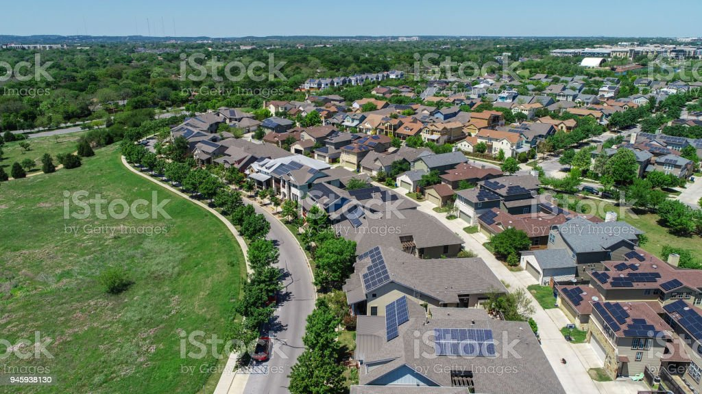 Hundreds of Solar Panels Mueller Suburb Solar Panel Rooftops and Modern Austin Living stock photo