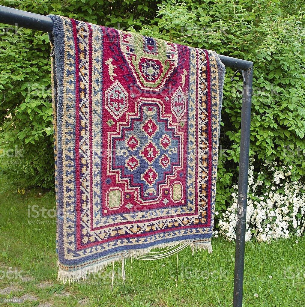Hung carpet stock photo