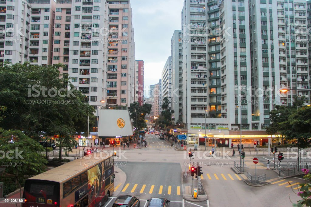 Hung Hom Hong Kong Chinese community Hung Hom residential area in Kowloon is nearby Tsim Tsa Tsui and Poly U Architecture Stock Photo