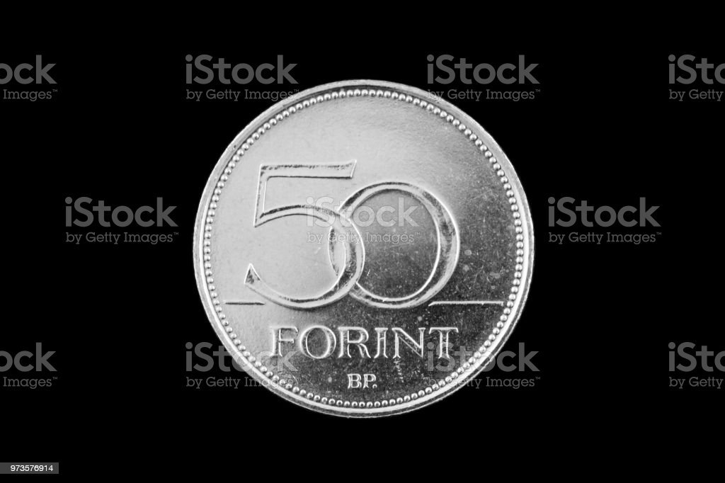 Hungarian 50 Forint coin isolated on a black background stock photo