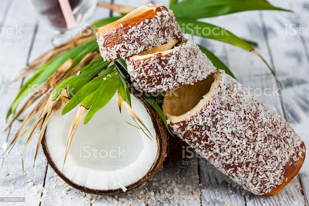 Hungarian a round loaf with coconut stock photo