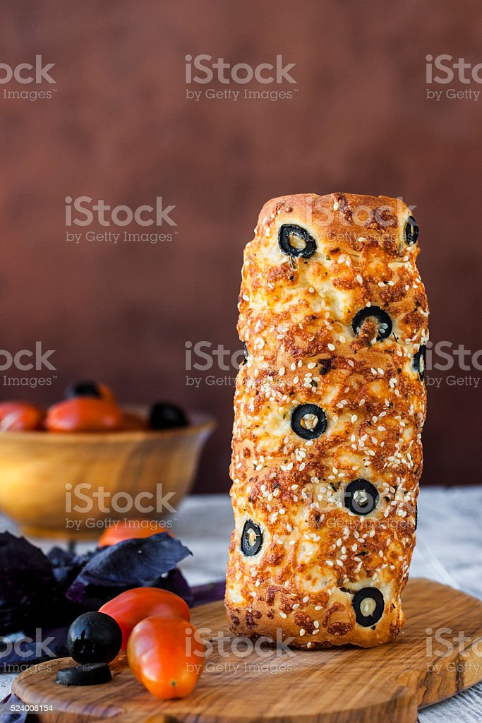 Hungarian a round loaf with olives and cheese stock photo
