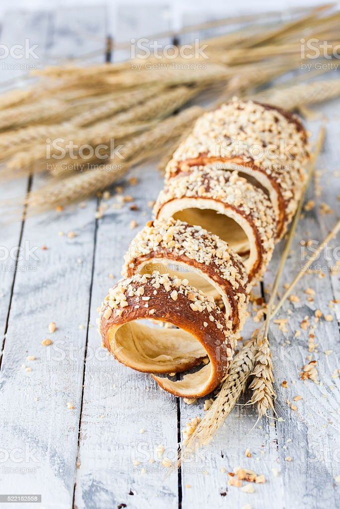 Hungarian a round loaf with peanuts stock photo