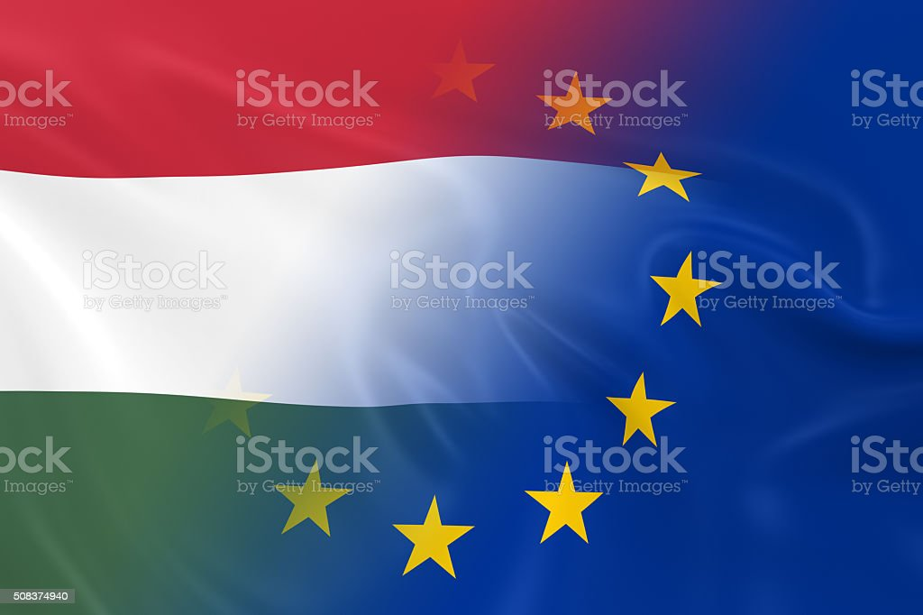 Hungarian and European Relations Concept Image stock photo