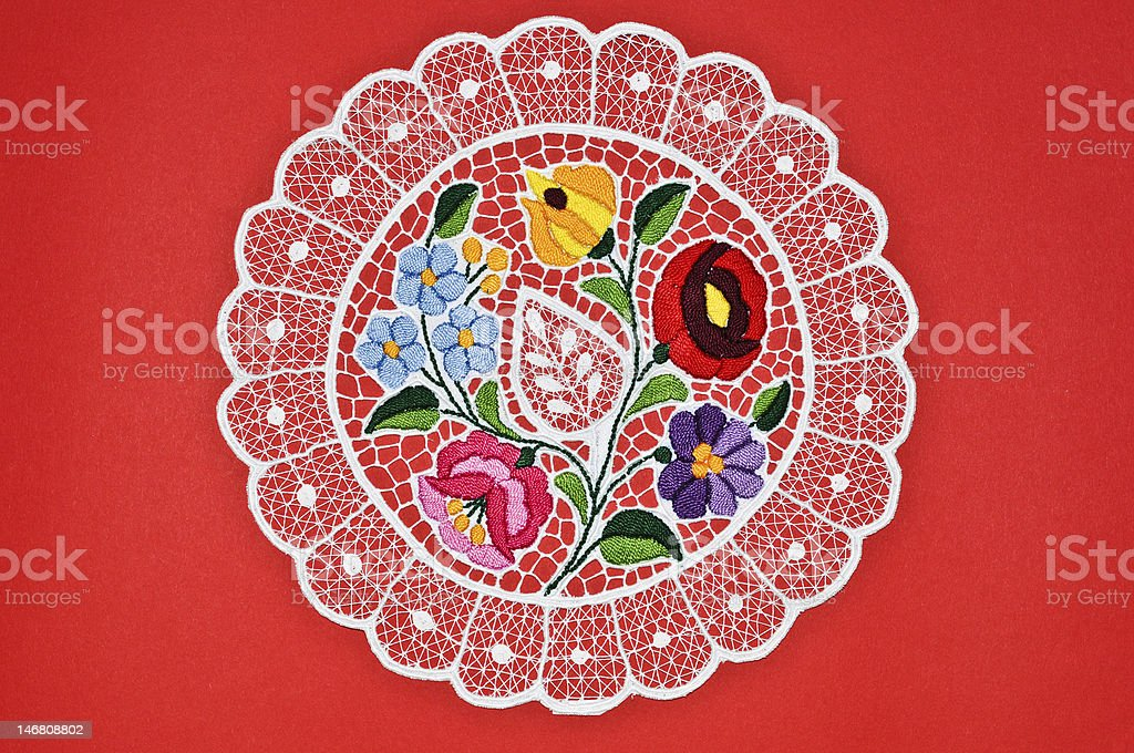 Hungarian circle embroidery royalty-free stock photo