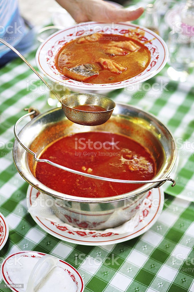 Hungarian fish soup stock photo