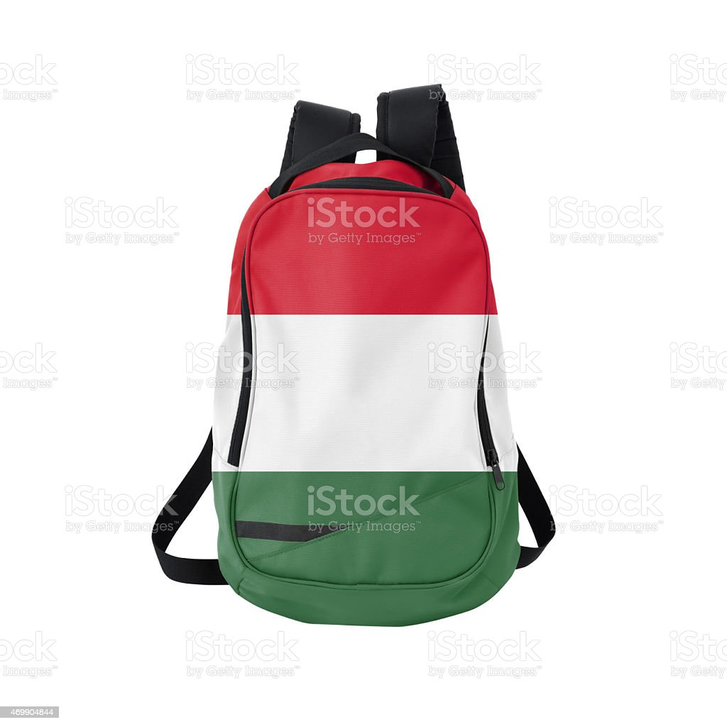 Hungarian flag backpack isolated on white w/ path stock photo