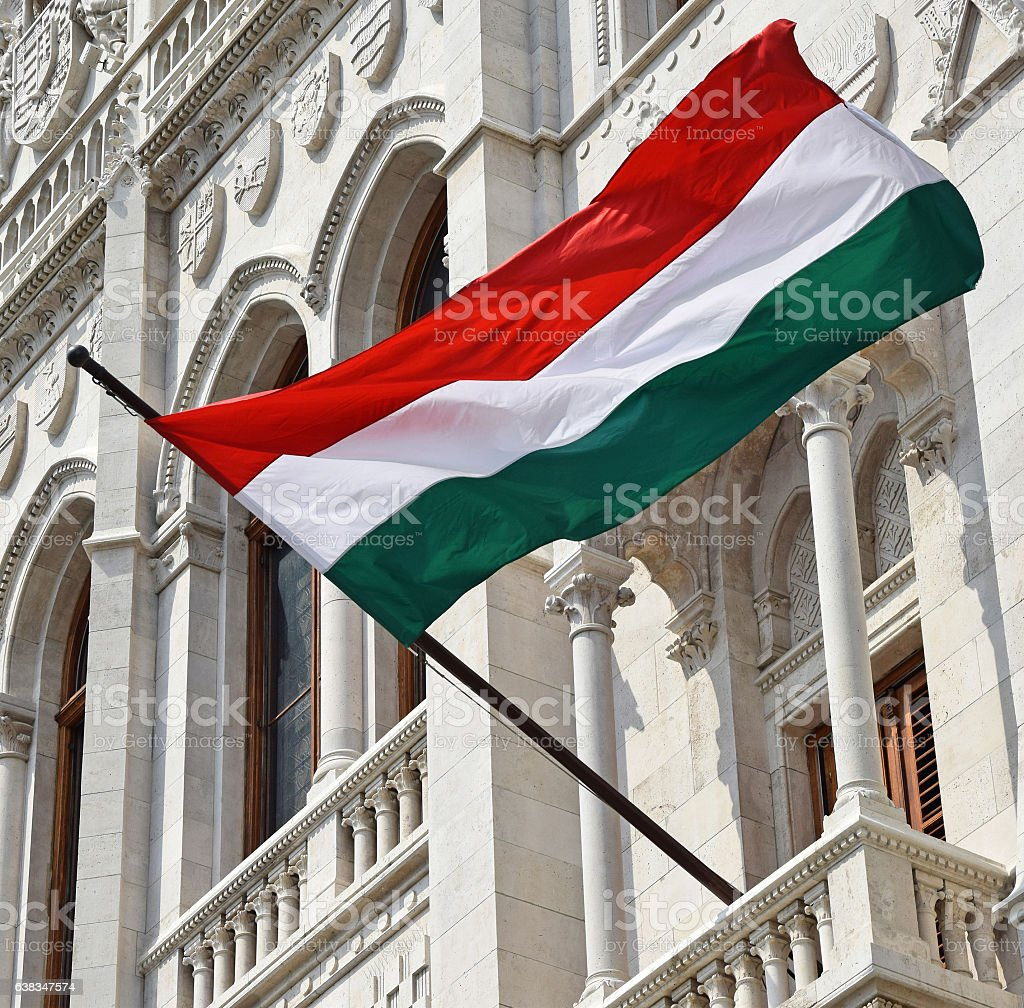 Hungarian flag in the window of the parliament building stock photo