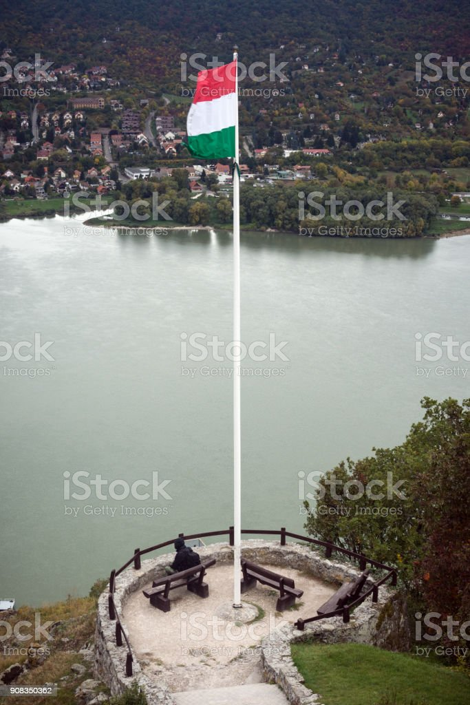 Hungarian flag in Visegrad town stock photo