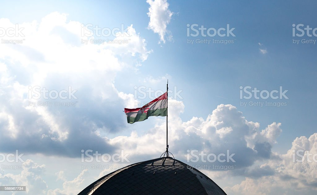 Hungarian flag on the top of a building stock photo