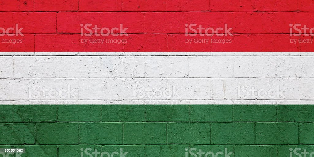 Hungarian flag painted on a wall stock photo