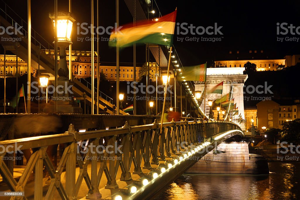 Hungarian Flags Flying stock photo