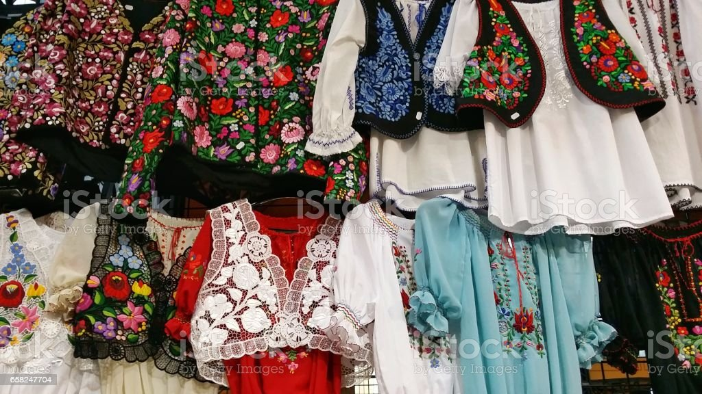 Hungarian Folk costumes stock photo