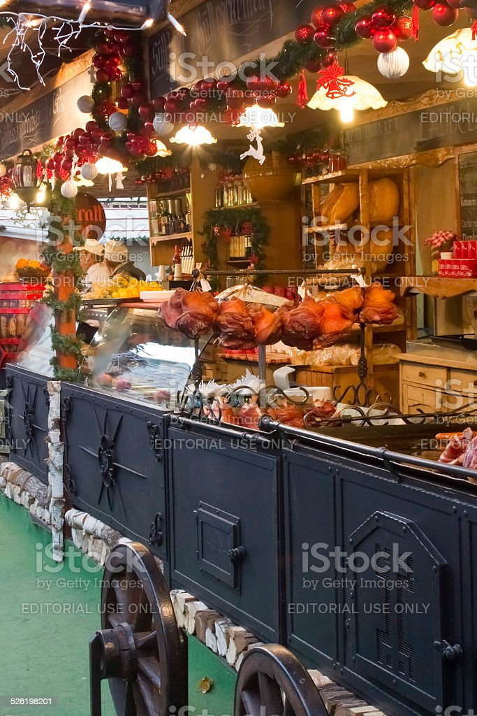 Hungarian foods at a christmas fair stand stock photo